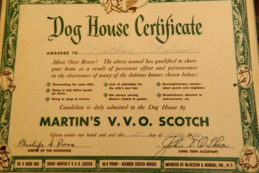 Comic Dog House Certificate