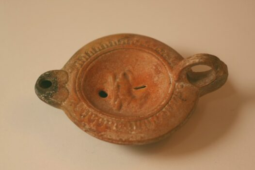 Ceramic Roman Oil Lamp with Crouching Dog